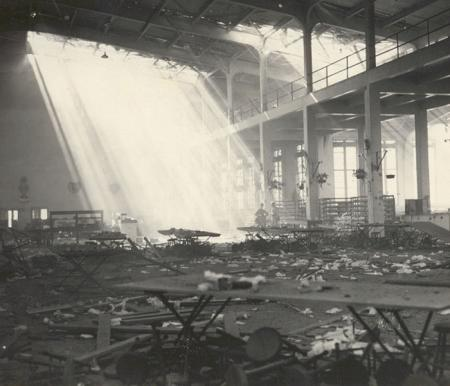 Damaged building at Pearl Harbor, Hickam Field