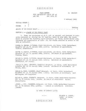 Award Document 98th Bombardment Group - Purple Hearts Documents